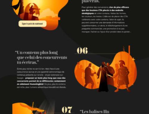 Infographie pour l'optimisation des contenus 'les 10 commandements SEO'